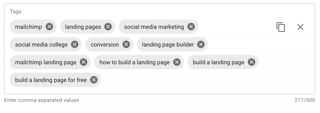 YouTube tags for How To Create A Landing Page (FOR FREE) Using Mailchimp