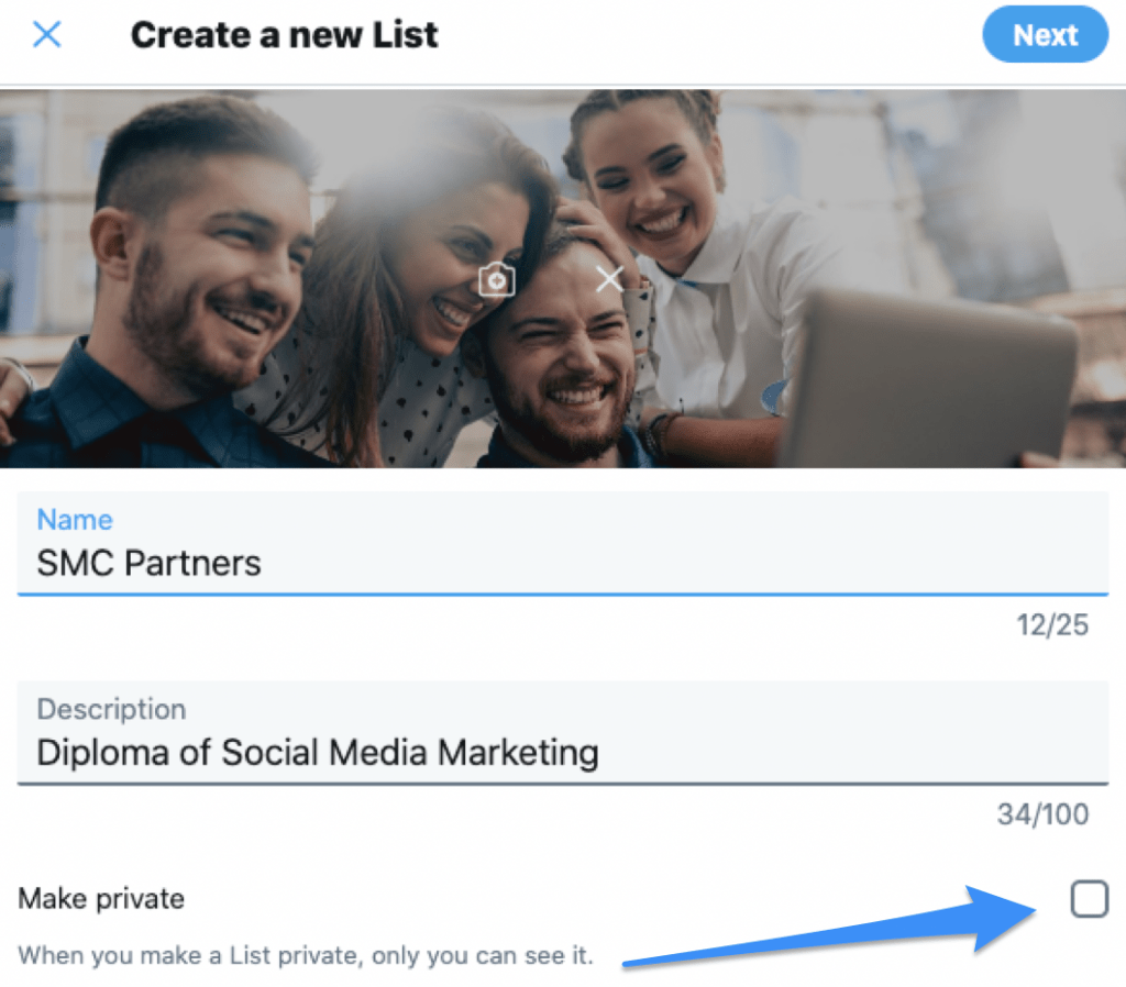 How to make Twitter lists private