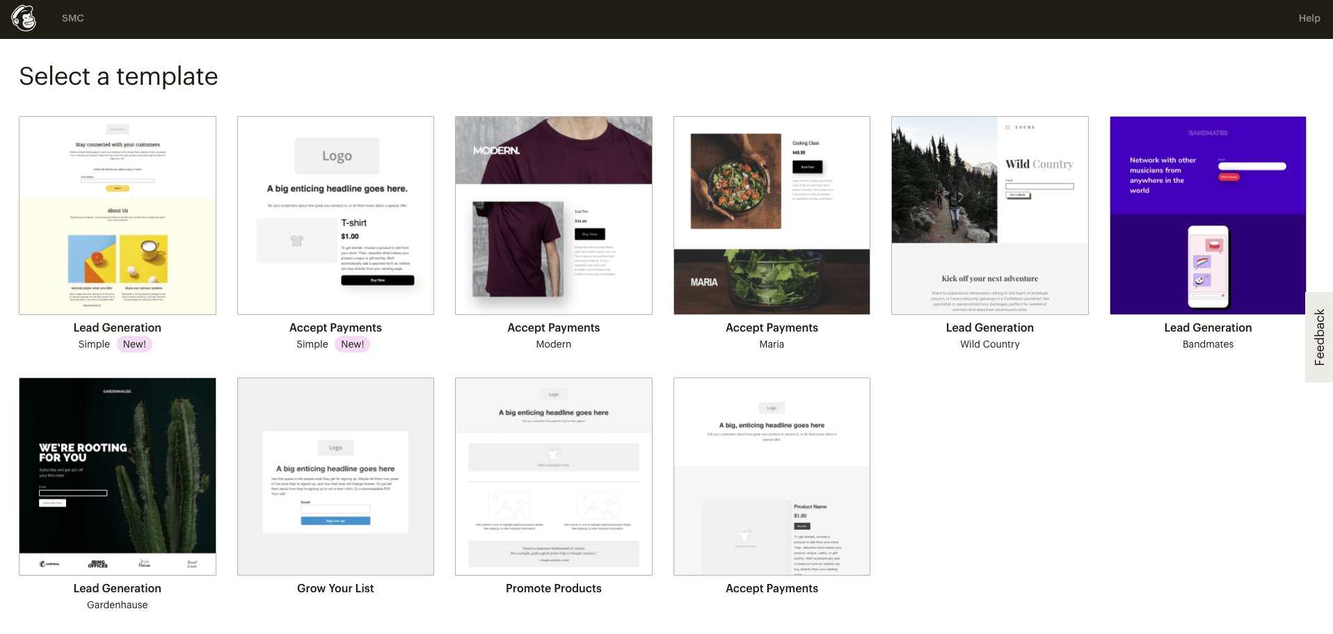 Landing page template's on Mailchimp