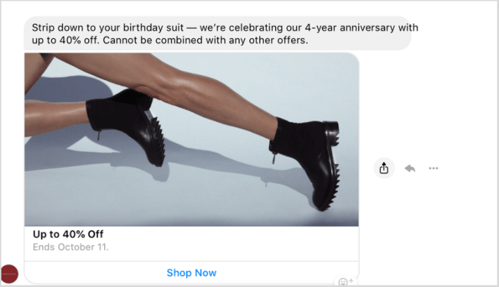 Using engaging copy for your Facebook Messenger ads
