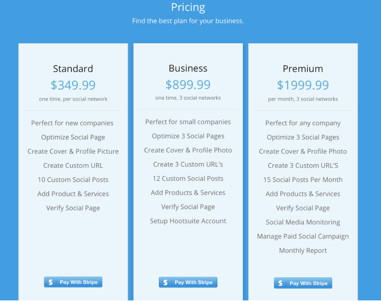Pricing for one-time social media marketing services