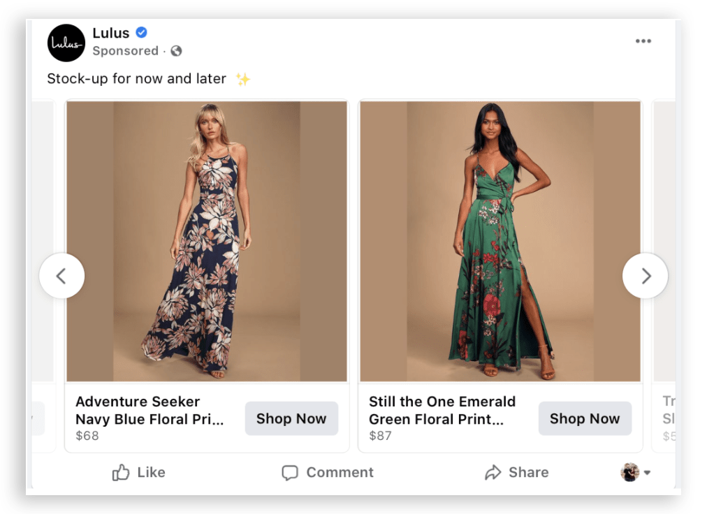 An example of a Facebook carousel ad