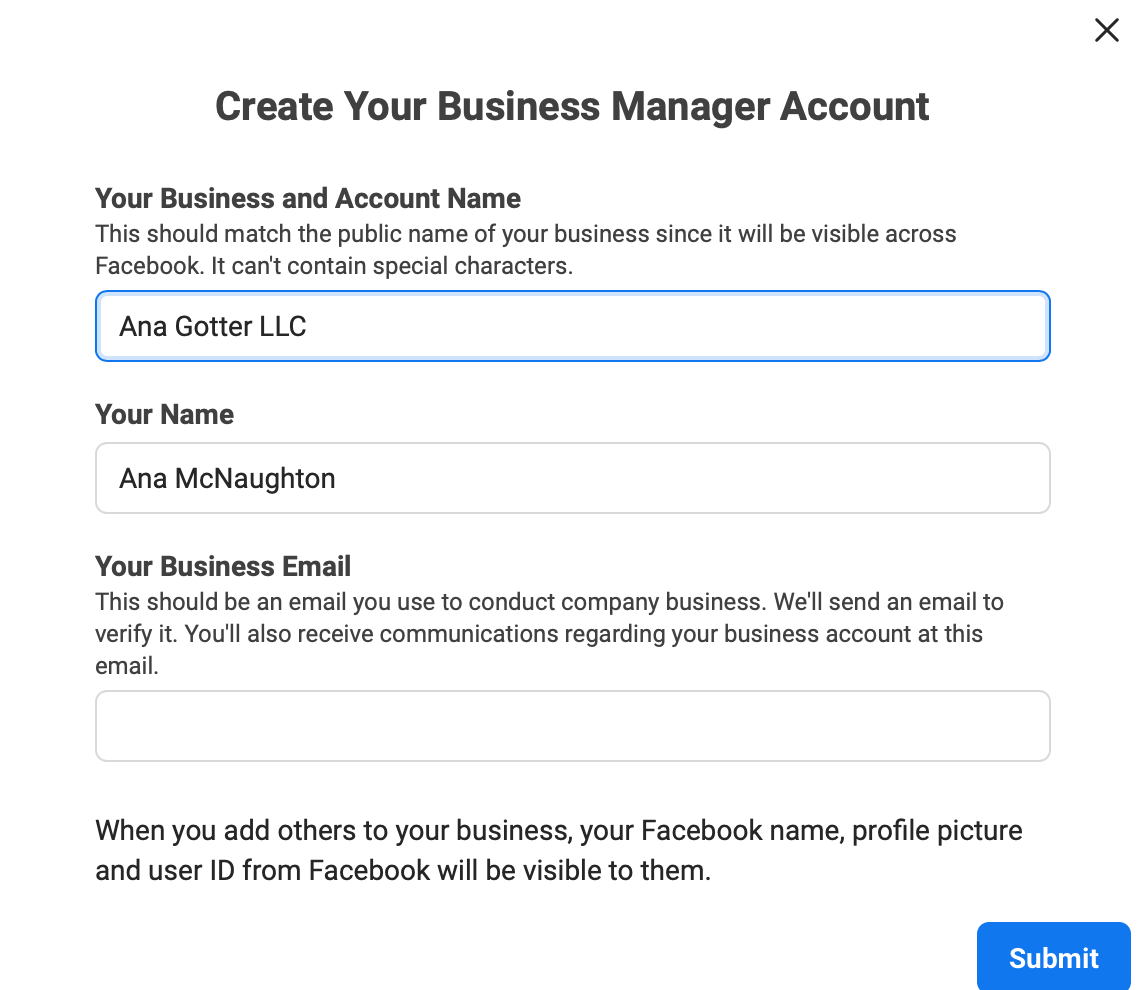 Create a Business Account